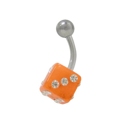 UV Acrylic Dice 14g Belly Button Ring Surgical Steel Shaft-1