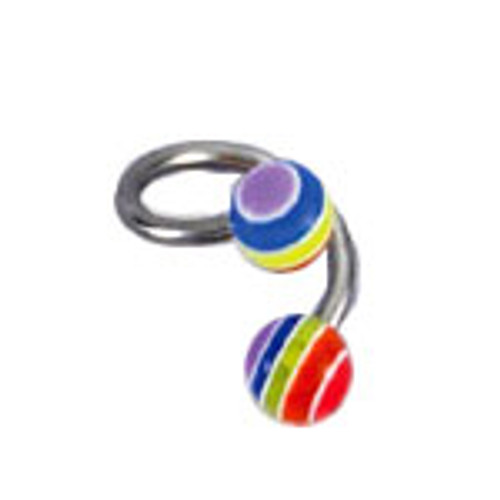 Body jewelry, 316L surgical steel with UV acrylic beads, Twister ring-1