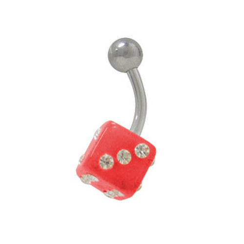 UV Acrylic Dice 14g Belly Button Ring Surgical Steel Shaft-3 - Out of Stock