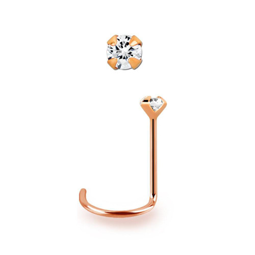 14kt Rose Gold Nose Screw 22 gauge (0.6mm) with 1.5 mm Round Prong Set Diamond