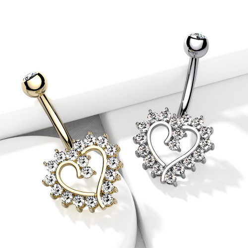 Belly Button Navel Ring 14K solid Gold CZ Paved Hollow  Heart design