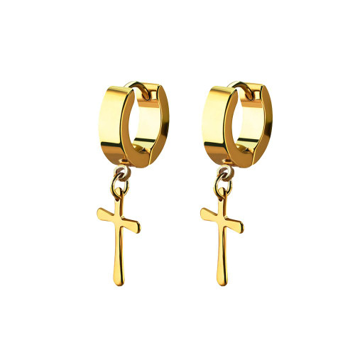Earrings stainless steel gold PVD coated color huggie with a cross dangling part one pair