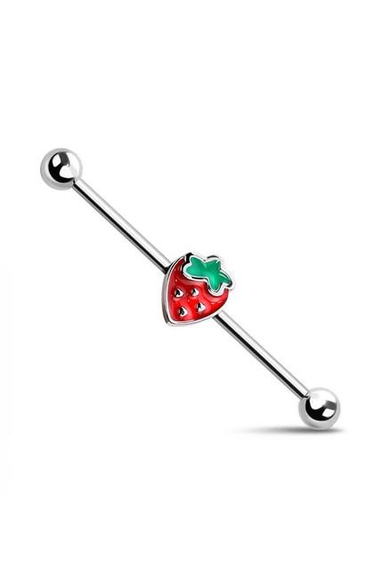 Enamel Strawberry Surgical Steel Industrial Barbell