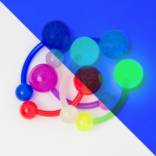 Glow Belly Button Barbell 6 Pack - 14ga Bio-Flex Barbell UV Glow in the Dark