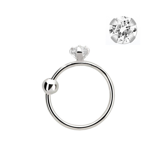 Nose hoop ring 14 karat solid white gold