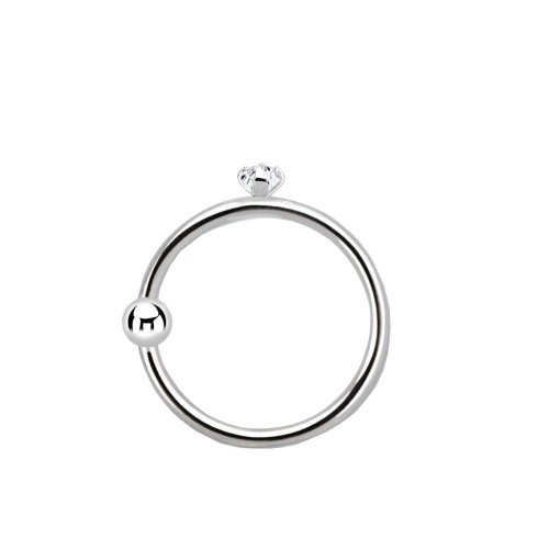 Nose hoop ring 22g 14 karat solid white gold with a fixed bead and a prong setting 1.5mm genuine diamond