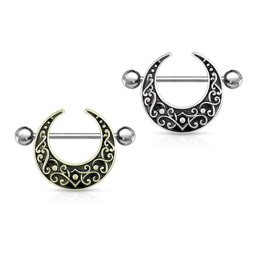 Pair Nipple Shields Ring  Shaped Filigree   Surgical Steel 14 Gauge