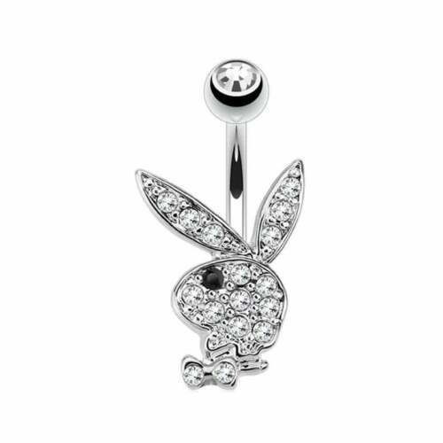 Playboy Bunny 14 Karat Solid white gold with Paved Gem Navel Ring