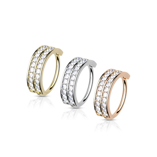 Bendable Hoop Ring Double Lined Half Circle with Embedded CZ