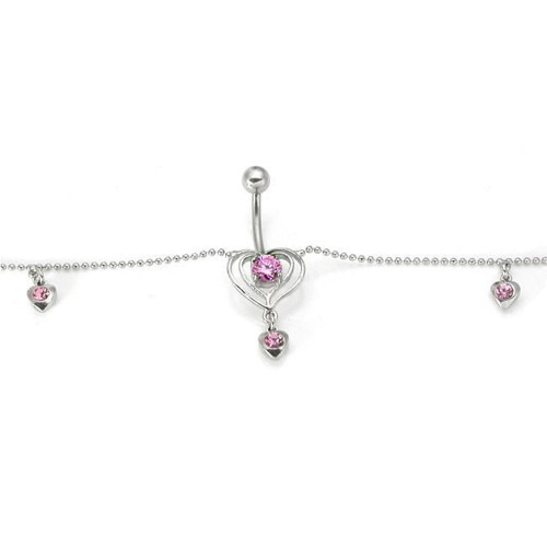 Belly Botton CHAIN PINK OUTLINE Heart Gem Drop Belly Ring 6 Gem Hearts - Out of Stock