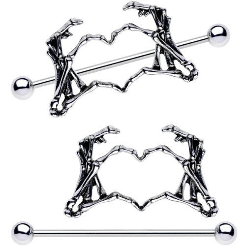 Skeleton Hand Heart Pair Of Nipple Shield long 14 Gauge Barbell 1 1/2""