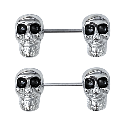 Nipple rings Large Skull design Black Eyes 14G 14mm