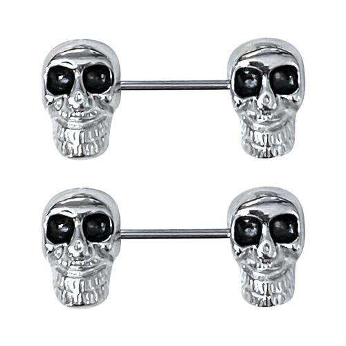 Nipple rings Large Skull design Black Eyes 14G 14mm