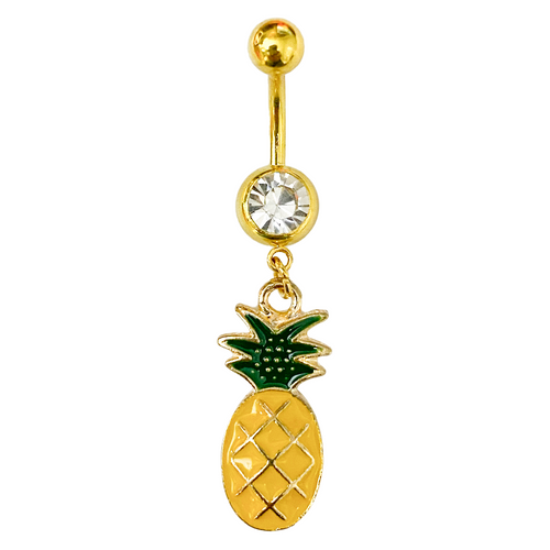Belly Buton Navel Ring Surgical Steel Ion Plated gold Color with Dangle Pineapple
