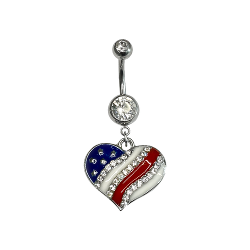 Belly Button Navel Ring Surgical Steel with Dangle Heart American Flag with jewels