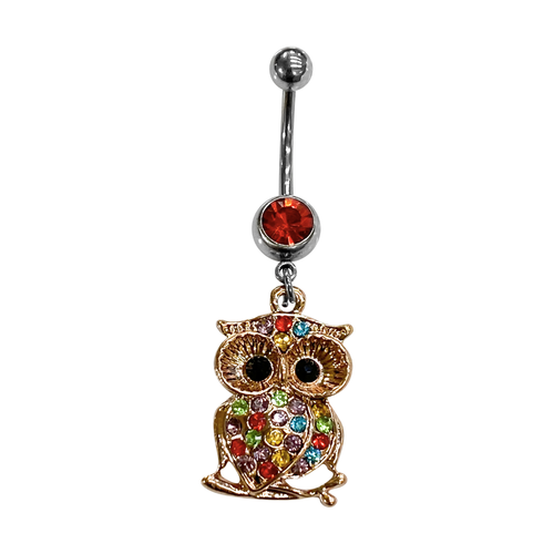 Belly Ring Surgical steel with Multi-Gem ION Rose Gold Owl Dangle 14G