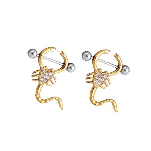 Pair of Scorpion Design CZ Nipple Shields 14ga Gold plated