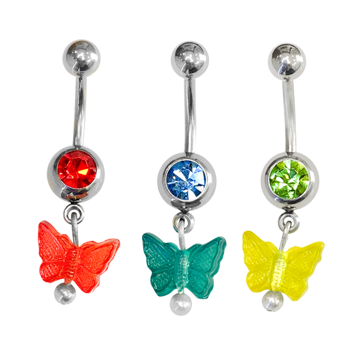 Belly Button ring surgical steel with dangle acrylic Butterfly  choose Your Favorite bellow