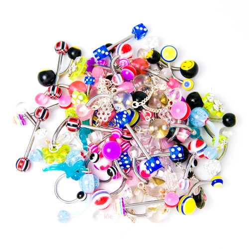 Assorted Body Jewelry - 60-Piece Bundle - Belly, Tongue, Nipple, Eyebrow Included
