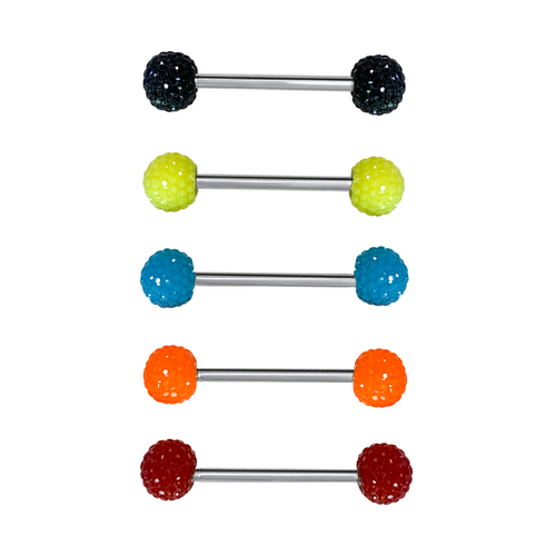 Tongue rings barbells  pack of 5 surgical steel colorful acrylic balls with unique texture design