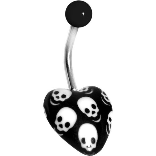 Belly Button Ring Heart with Skulls Surgical Steel