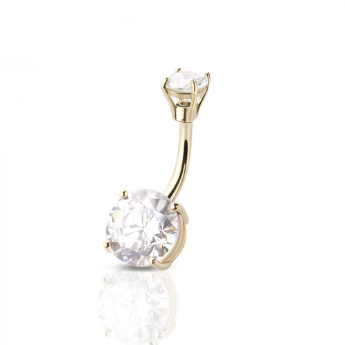 Belly Ring 14 Karat Solid Gold Double Prong Settings Cubic Zirconia