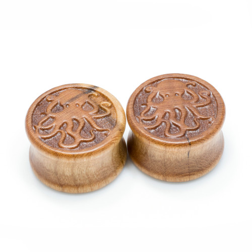 Pair of Hand Carved Octopus Cherry Wood Saddle-Fit Double Flare Plugs