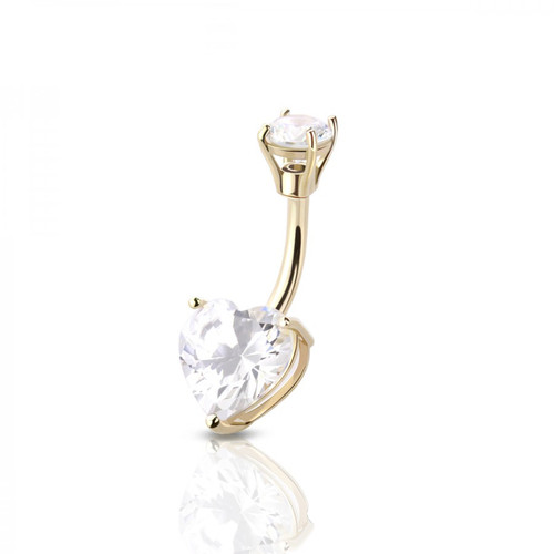 Belly Ring 14 Karat Solid Gold Heart Shape Prong Settings Cubic Zirconia