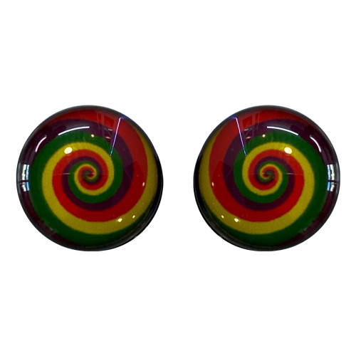 Ear plugs Screw Fit Light weight Acrylic with Rainbow Design