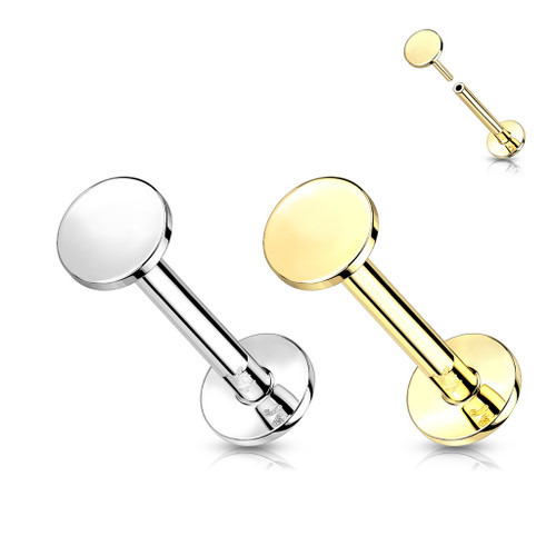 Labret Push-In With Threadless Flat Round Top 14 Karat Solid Gold Good For Ear , Lip Nose