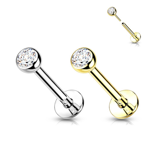 Labret Threadless Push-in Flat Back Studs With Bezel Set CZ Top for Cartilage Monroe and More 14 Karate solid gold