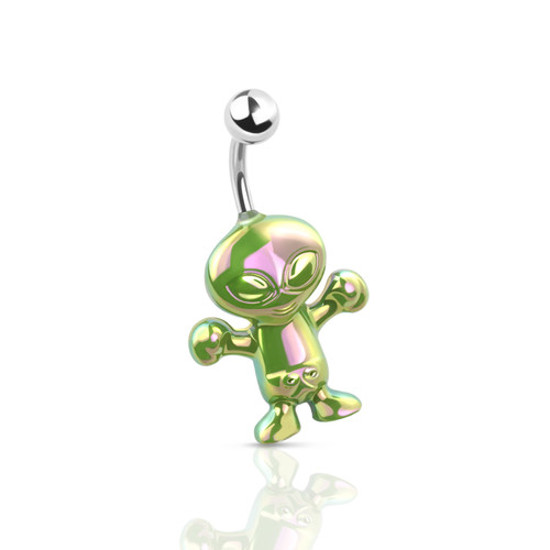 Belly ring Curved Barbell 14 Gauge Iridescent Effect Friendly Alien