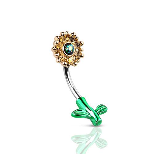 Belly ring Curved Barbell 14G SunFlower Blossom Design