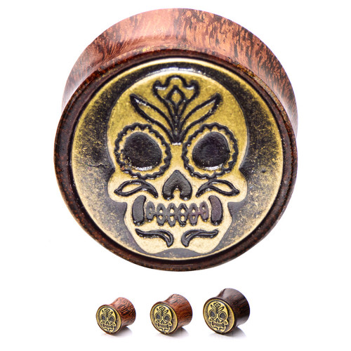 Sugar Skull Organic Wood & Brass Saddle-Fit Ear Plugs 1 Pair