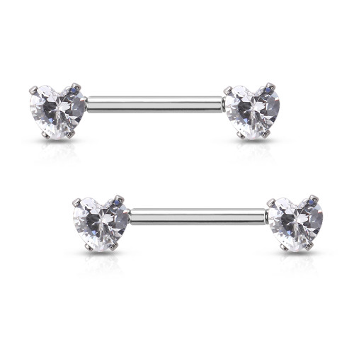 Nipple Barbell Prong set Heart Ab Jewels surgical steel