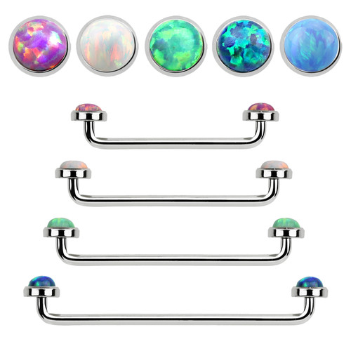 Staple Surface Barbell with Internally Threaded Synthetic Opal stones Surgical Steel 14G