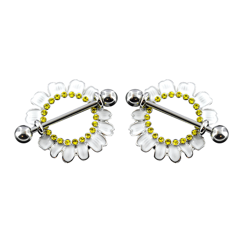 Nipple Shields Daisy Flower Design White with Yellow crystals 14G