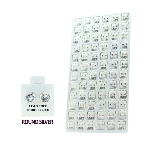 Clear Round CZ Stud Earrings Package Description: 6 Sizes: 3mm, 4mm, 5mm, 6mm, 7mm, 8mm 12 Pairs Per Size  72 pairs