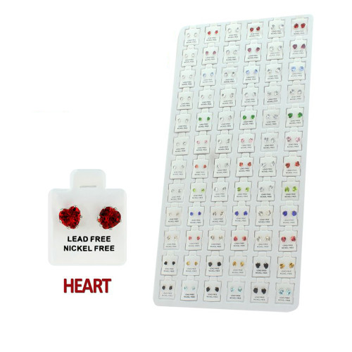 Cubic Zirconia Heart Stud Earring Package Description: 3 Sizes: 5mm, 6mm, 7mm Assorted 13 Colors (Colors may vary) 72 pairs Tray and pads included complete set