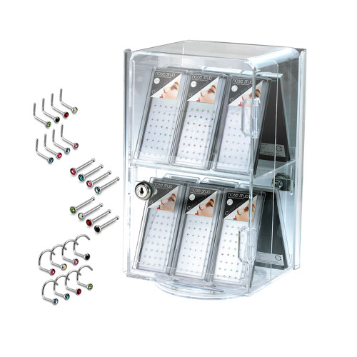 Assorted Surgical Steel Nose Screw and bone  Packages 12 Boxes Display Set (with Free Case) 480pcs