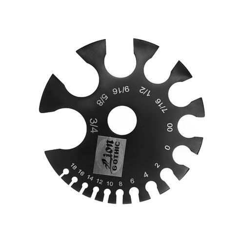 Body Jewelry Piercings Gauge Measurement Wheel, Black Steel Anodized - MM & Gauges
