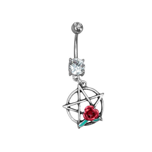 Belly Button Ring Naval piercing Surgical Steel  Dangle Star and red rose  design with prong set  Clear Gem