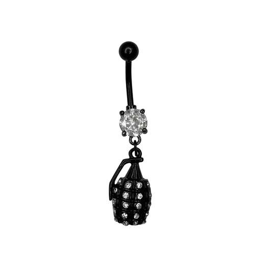 Belly Button Ring Naval piercing Surgical Steel  Dangle Granat  design with prong set Black  Gem