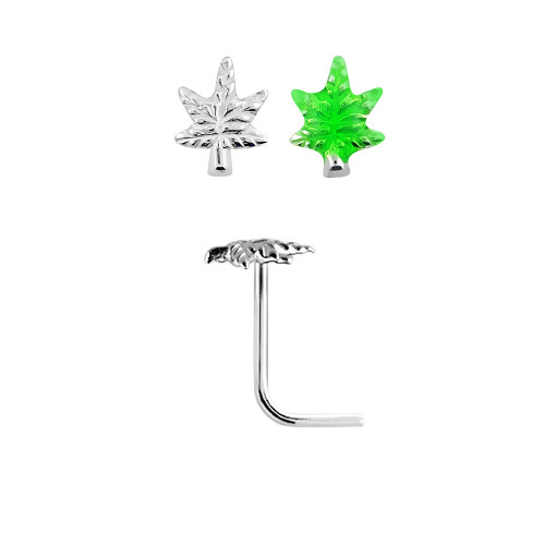 Nose stud  L shaped  Sterling Silver Pot Leaf  design  22 gauge