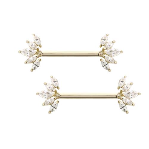 Nipple rings barbells 14 Karat Solid Gold Marquis settings  AAA CZ stone 14 Gauge  SOLD AS PAIR