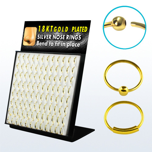 """Nose hoops acrylic display with 96 pcs of sterling silver nose hoop rings with 18K gold plating mix with ball and with sleeve. 22g/0.6mm and diameter from 5/16""""-8mm to 1/2""""-12mm"""