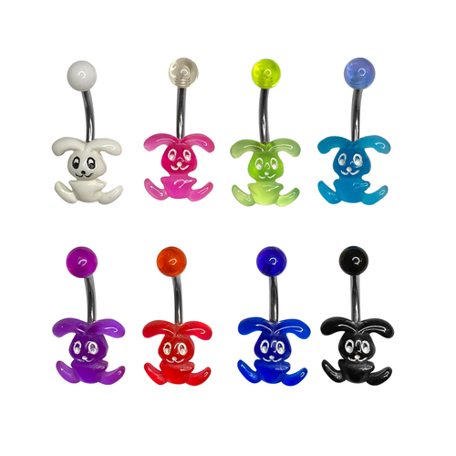 Belly Button Rings Surgical steel with Acrylic Happy Bunny design Pack of 10
