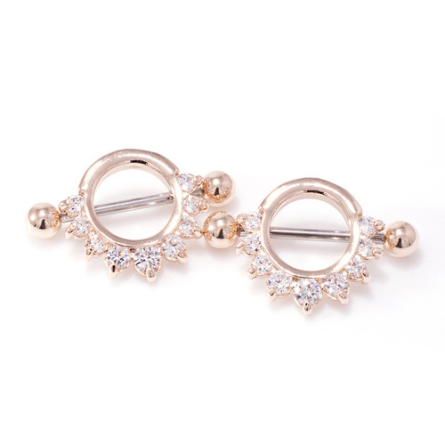 Nipple Piercing Shield Half Circle CZ Lined 316L Surgical Steel Rose Gold