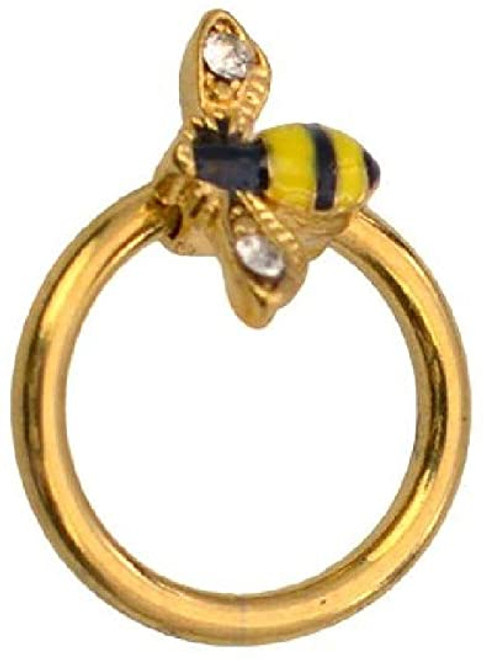 Luxe Modz Captive Bumble Bee Ring 316L Surgical Steel Helix Tragus Cartilage 16 Gauge 5/16 8mm Sold Each