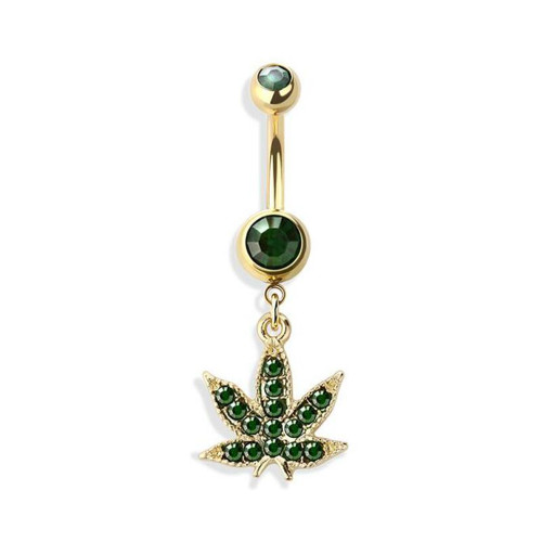 Belly Ring Navel piercing ring pot leaf Green Marijuana leaf surgical steel Ion plated gold